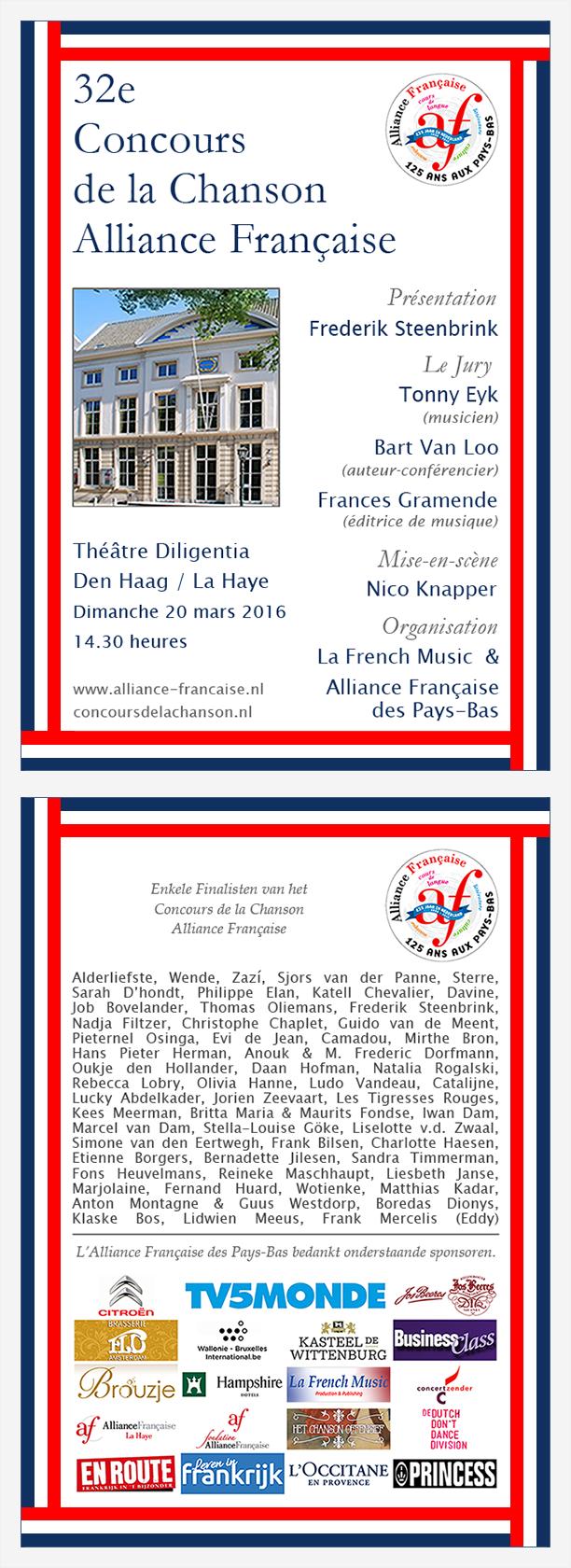 Flyer Concours de la Chanson Alliance Française - 20 mars 2016