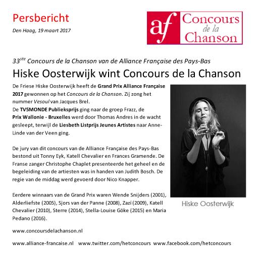 Persbericht Concours de la Chanson 19-3-2017