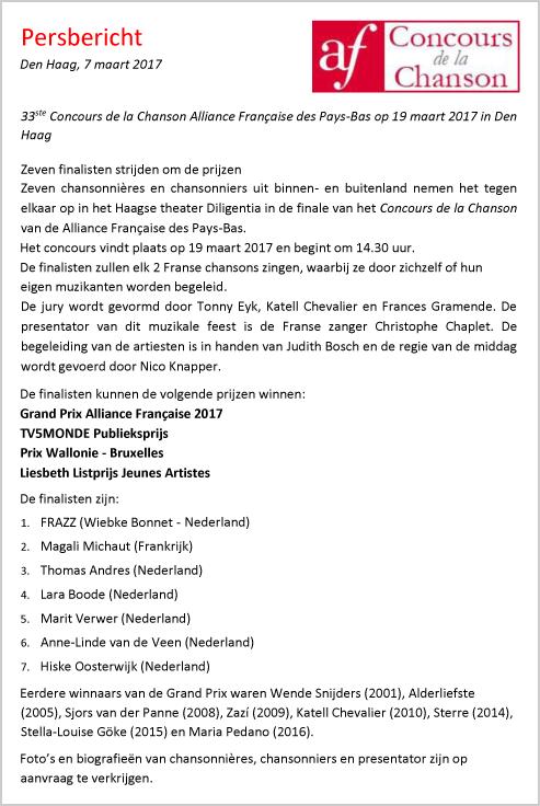 Persbericht Concours de la Chanson 7-3-2017