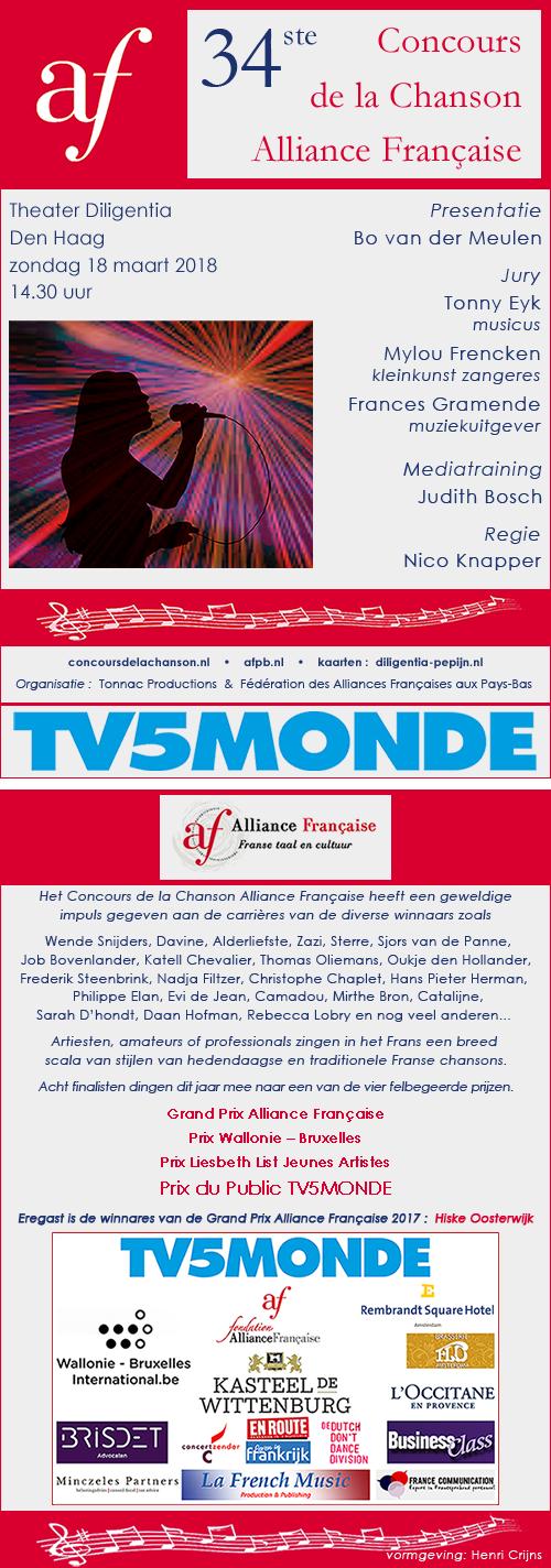 flyer Concours de la Chanson 2018 voor- en achterzijde