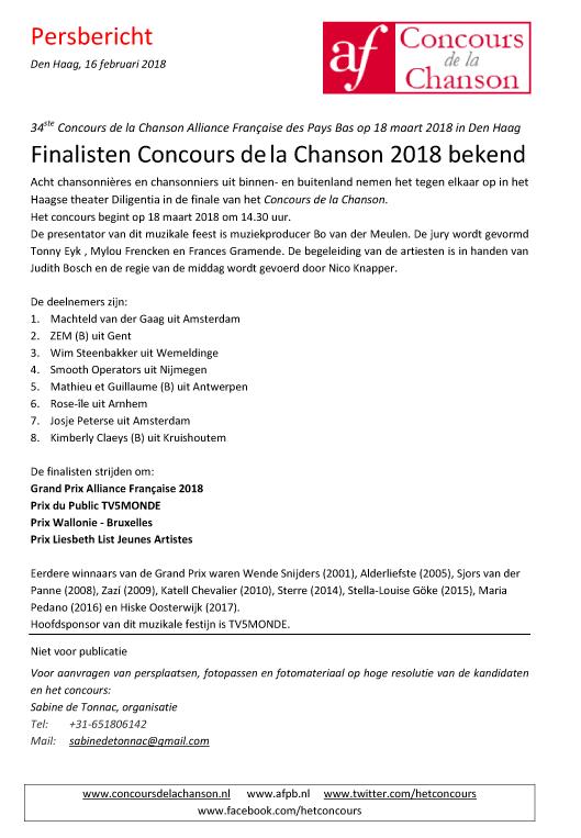 Persbericht Concours de la Chanson 16-2-2018